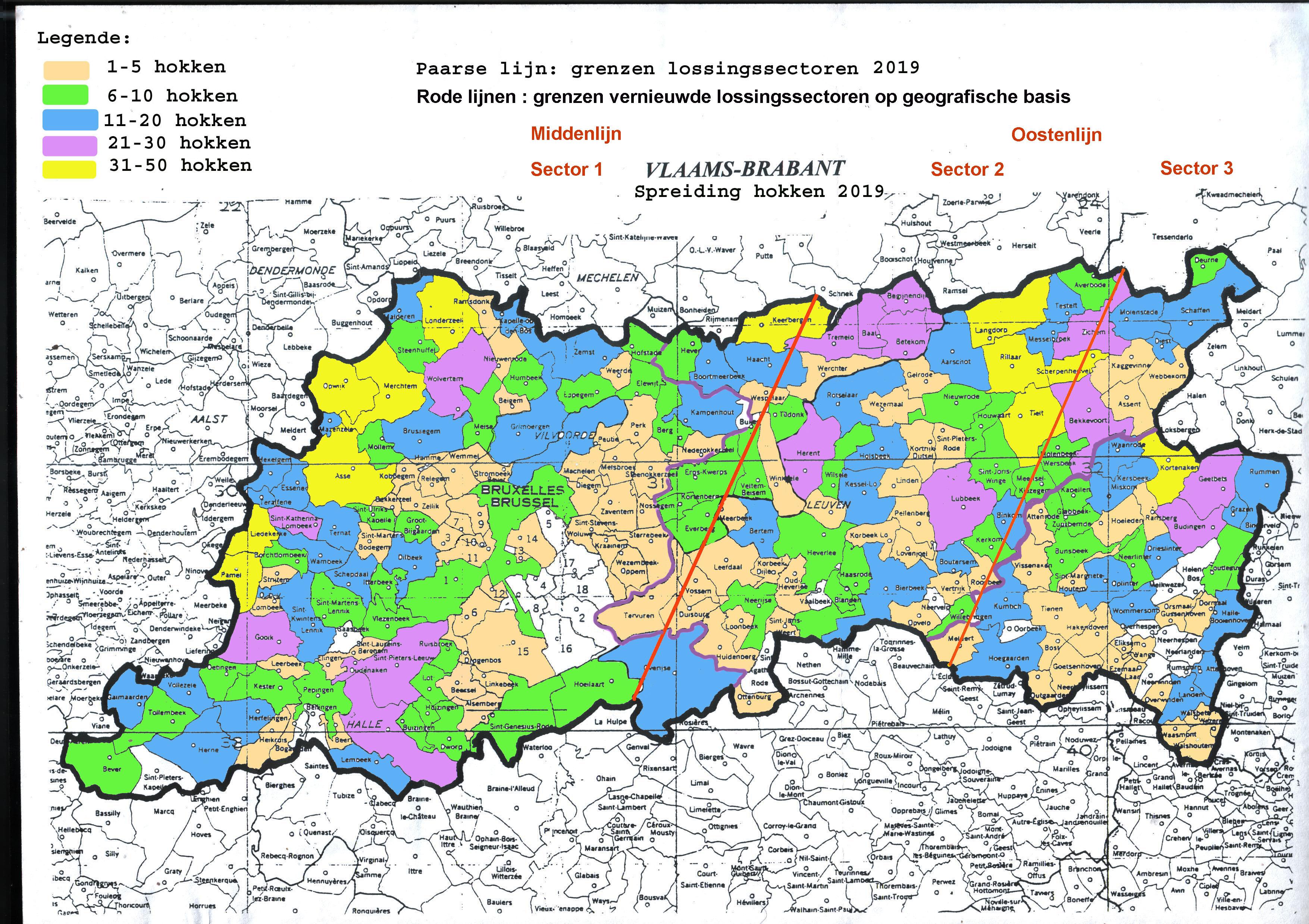 Kaart Vlaams Brabant spreiding hokken 2019 final